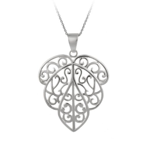 Sterling Silver Open Cut Design Leaf Pendant Necklace , 18