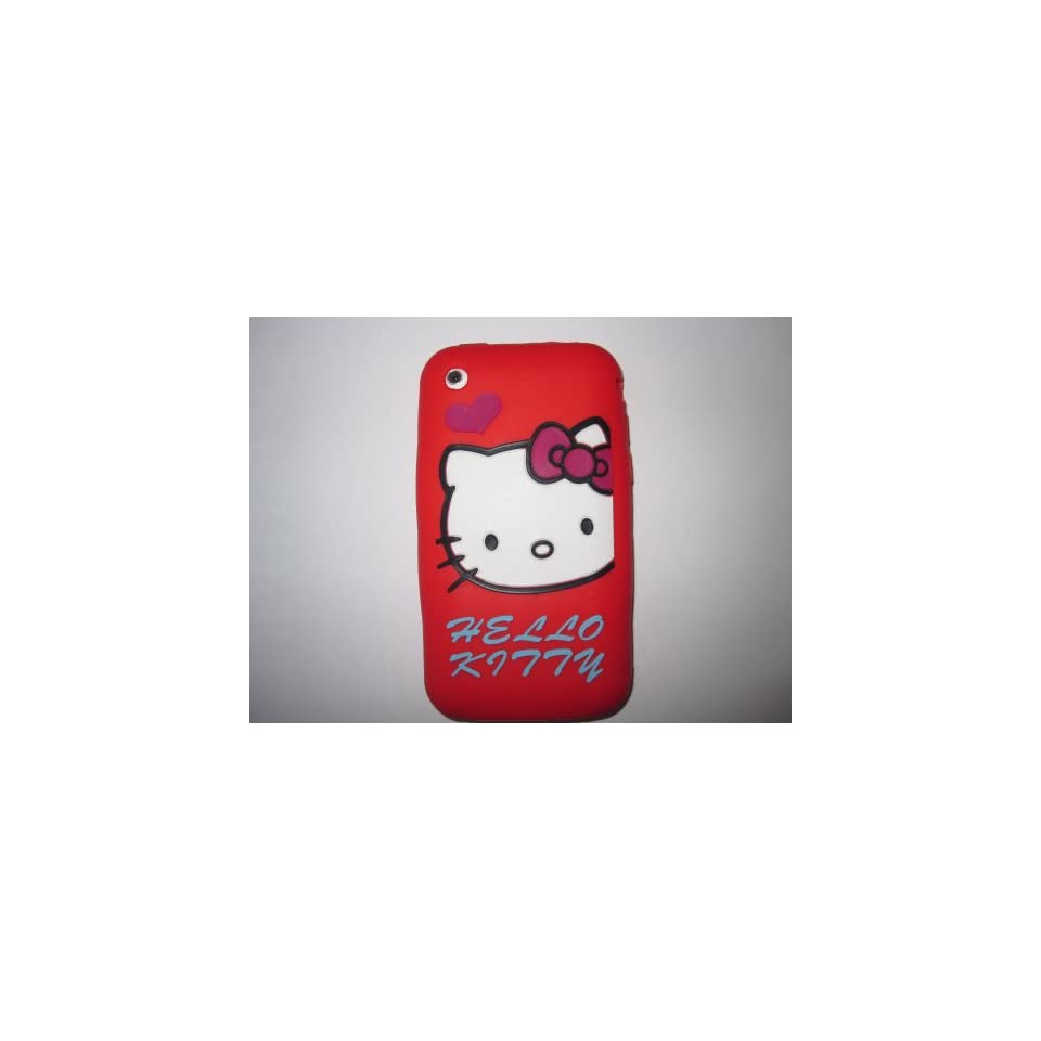 I Phone 3G 3GS light weight Heart Hello Kitty Silicone Case / Skin Red