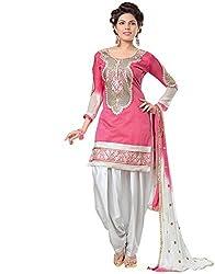 Zombom Women Cotton Salwar Suit (ZBDTFW68-06-G6_Pink & White_Pink & White_Free Size)