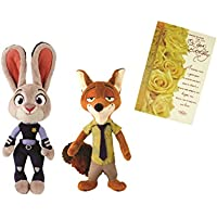 Disney 12inch Zootopia Soft Toy ( Judy) & 9inch Zootopia Nick With Birthday Card