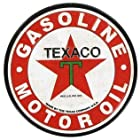TEXACO ROUND METAL EMBOSSED MAGNET Motor Oil Gasoline Station Refrigerator Fridge Tool Box Office Garage Sign Camaro Corvette MAN CAVE