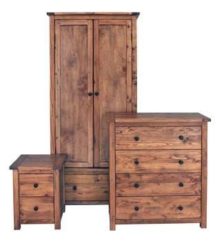 DENVER AGED WOOD EFFECT 3 PIECE BEDROOM SET INCLUDING A 1 DOOR 1 DRAWER BEDSIDE CABINET, A 2 DOOR WARDROBE AND A 2+2 DRAWER CHEST, SOLID WOOD FROM CENTURION PINE