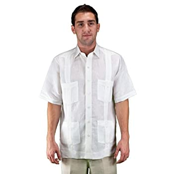 Short sleeve white guayabera wedding shirt by el