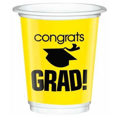 Congrats Grad Yellow Graduation Plastic 12 oz. Cups