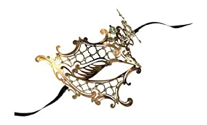 Kayso Inc Signature Phantom of the Opera Venetian Laser Cut Masquerade Mask, Rose Gold w/ Clear Stones