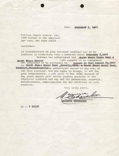 Maurice Chevalier - Contract Signed 02/02/1967 front-1033048
