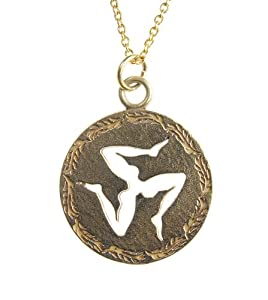 Triskelion Peace Bronze Pendant Necklace on Rolo Chain