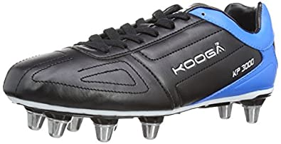 Kooga Unisex Adult 31420 KP 3000 LCST 8 Stud Rugby Boots - Black/Blue/White, 10 UK, 44.5 EU Regular