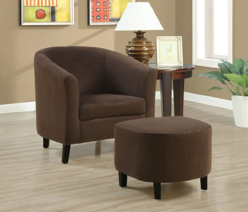 Fine Berger Padded Microfiber Accent Chair And Ottoman Chocolate Short Links Chair Design For Home Short Linksinfo