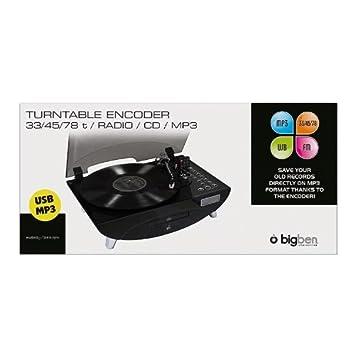 big ben au312256 tourne disque 1 1 x usb noir transparent import allemagne high tech. Black Bedroom Furniture Sets. Home Design Ideas