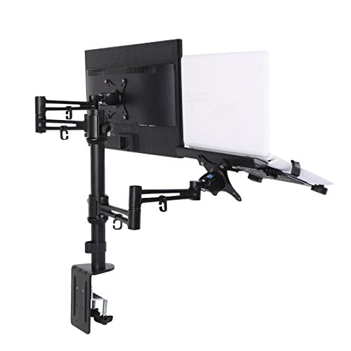 Loctek D2DL 2 in 1 Dual Monitor Arm Desk Mount Stand for 10 to 27-Inch LCD and 11 to 15.6-Inch Laptop Laptop Desk Arm