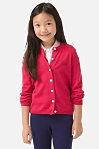 Girl's Long Sleeve Full Button Cardigan