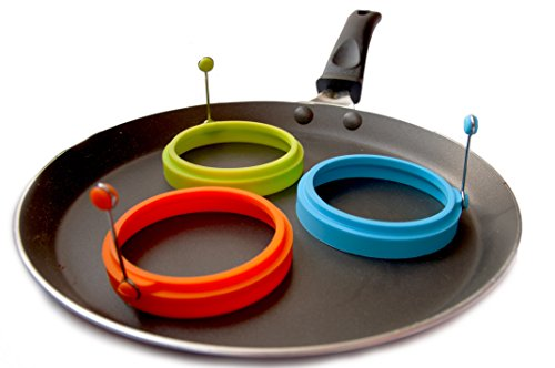 Kembar 3-Piece Non Stick Silicone Egg and Pancake Rings, 4-Inch