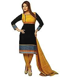 Fashionx Women Cotton Printed Unstitched Dress Material(JL813_Black_Free Size)