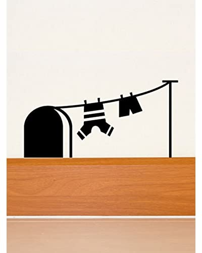 Ambiance Live Vinilo Adhesivo Mouse Agujero And Laundry Drying Wall Decal Negro