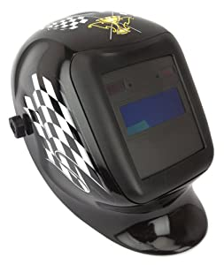 Forney 55670 Automatic Darkening Welding Helmet with Ratchet Headgear, Finish Line, Checkered Flag