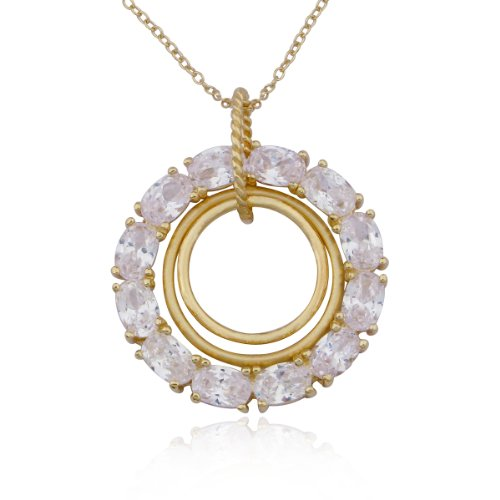 18k Yellow Gold Plated Sterling Silver Cubic Zirconia Circle Pendant Necklace, 18