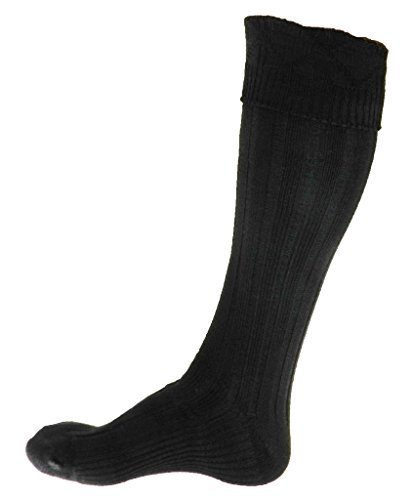 Scottish Kilt Black Hose Large (USA Men's Shoe Size 10-12, Black) (Mens Black Kilt Hose compare prices)