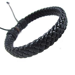Jirong Fashion Adjustable black Leather Cotton Rope Woven Bracelets Mens Bracelet Cool Bracelet Jewelry Cuff Bracelet Sl0288-5