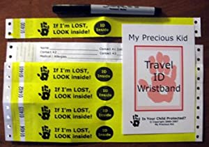 Travel Wristband - Disposable ID Bracelets by My Precious Kid - Child ID Safety Product