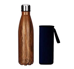 Yeevion Stainless Steel Water Bottle Insulated Hot Cold Cola Bottle Carrier Brown
