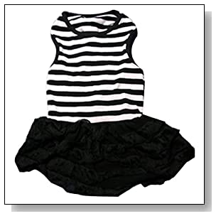 Binmer(TM)Cute Dog Clothes Pet Dog Costume Stripe T-shirt Skirt Puppy Princess Dress Dog Apparel (Black, XL)
