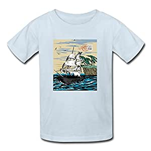 Boat water bird sail pirates cotton light blue for Custom boat t shirts