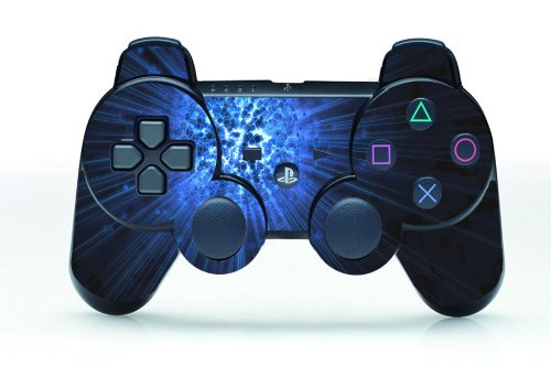 TQS™ High Gloss Finish Designer Skin Sticker Decal for Playstation 3 Remote Controller - Blue Explosion x long woman warm winter down coat camouflage brand really fur collar hood print down jackets with pockets size m 3xl