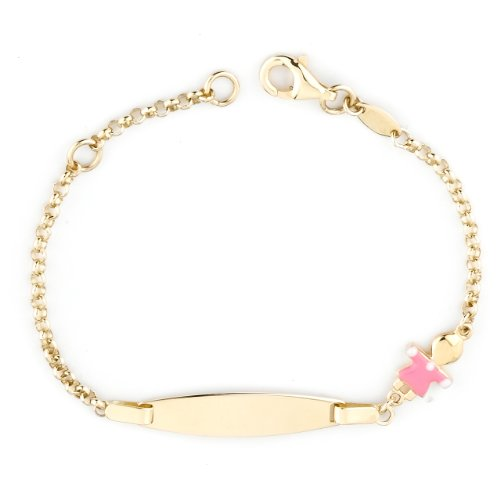 14k Yellow Gold Girl Baby ID Enamel Bracelet, 6
