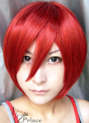 Cosplayland C515 - 30cm short straight Party heat-resist Cosplay Wig - Red