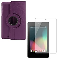 DMG PU Leather 360 Degrees Rotating Stand Case for Asus Google Nexus 7 1st Generation 2012 (Purple) + Matte Anti-Glare Screen Protector