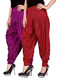 Navyataa Women's Lycra Dhoti Pants For Women Patiyala Dhoti Lycra Salwar Free Size (Pack Of 2) Purple & Red