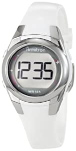 Armitron Women's 45/7021WHT Silver-Tone and White Sparkle Digital Sport Watch