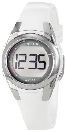 Armitron Women's 27mm White Resin Band & Case Acrylic Crystal Quartz Digital Watch 45/7021WHT