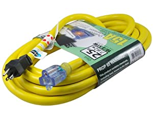 Conntek STW Super Heavy Duty Outdoor Jacket Lighted End Extension Cord, 25-Feet
