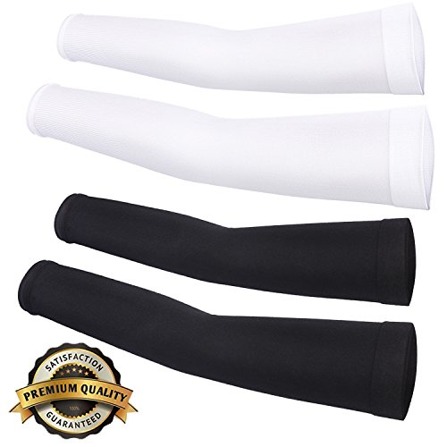 Cooling Compression Sports Arm Sleeve 99% UV Protection for Golf Weight Training Basketball Cycling Pain Injury Recovery, Helps protect arms from abrasions blisters and chaffing BW (2 Pairs) (Arm Leg Sun Protection compare prices)