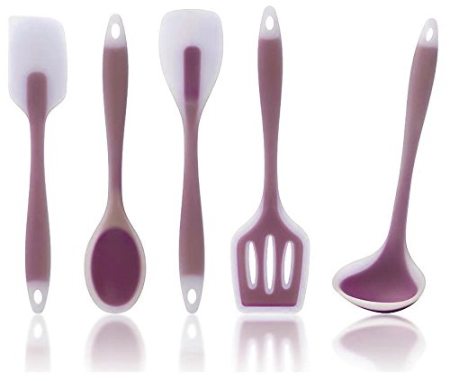 Bleu Whisk Premium Kitchen Utensils, 5 Piece Set Includes Non-stick Silicone Ladle, Slotted Turner, Spoon, Spoonula, Spatula in a Nice PVC Tube (Silicone Whisk And Spatula Set compare prices)