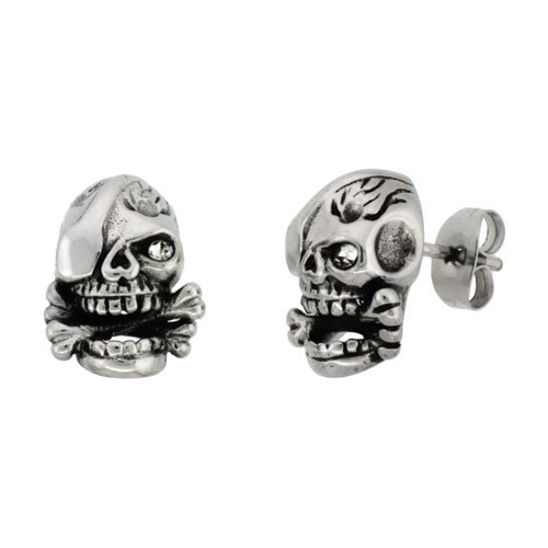 Stainless Steel One-Eyed Skull & Cross Bones Stud Earrings, 1/2 inch tall