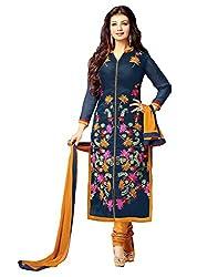 Surat Tex Women's Cotton Dress Material (H438DL129AA_Navy Blue_Free Size)