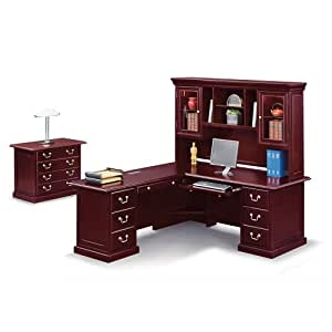 Cherry wood l desk with left return and hutch 72 w cumberland collection - Cherry wood computer desk with hutch ...
