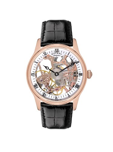 Rotary Men's Mechanical Watch with White Dial Analogue Display and Black Leather Strap GS02522/01