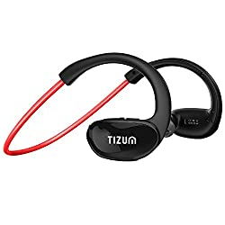 S-100 TRAINER Bluetooth V4.1 In-Ear Sports Headset with CVC 6.0-Noice Cancelling, IPX5-Sweatproof, HD Voice, 8-Hour Playtime, Built in Mic for Running, Sports, Handsfree Calling for Apple, Android, Microsoft Devices (Red)