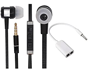 Value Combo Of Classic Chrome In Earbuds Headset Earphones and Stereo Jack Splitter Cable For Lenovo K3 Note Music -Royal Black