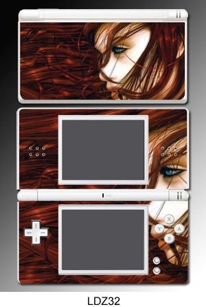 Beautiful Red Hair Girl Game Decal Cover Vinyl Skin Protector #32 for Nintendo DS Lite
