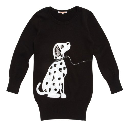 bluezoo Girl's Black Dalmatian Print Knitted Tunic