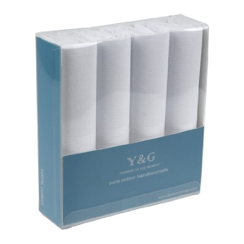 Yeb0110 Comfort Father Mens White Solid Cotton Handkerchiefs 4 Pics Set One Size Handmade Gift Giving By Y&G