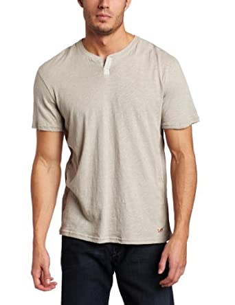 Converse By John Varvatos Mens Short Sleeve Henley, Light Flint Gray, XX-Large