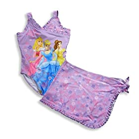 Disney Kids - Girls One Piece Princesses Bathing Suit Set, Purple