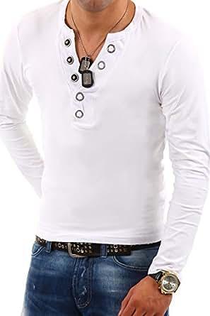 MyTrends - T-shirt tendance à manches longues et patte de boutonnage - BL-624 - Taille M