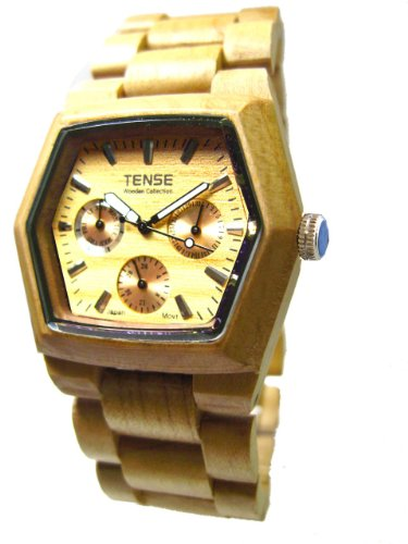 Tense Mens Wood Watch - Maple Wood Triple Dial Hexagon G8303M (Light Face)